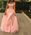 Pink Mermaid Elegant Evening Dress 2016 Sexy Off the Shoulder Short Sleeve Lace Prom Gowns Floor Length Special Occasion Dresses