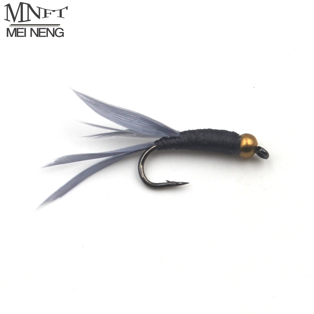 Mnft 10pcs lot 9 beadhead black body nymph fly trout fly for Fly fishing lures