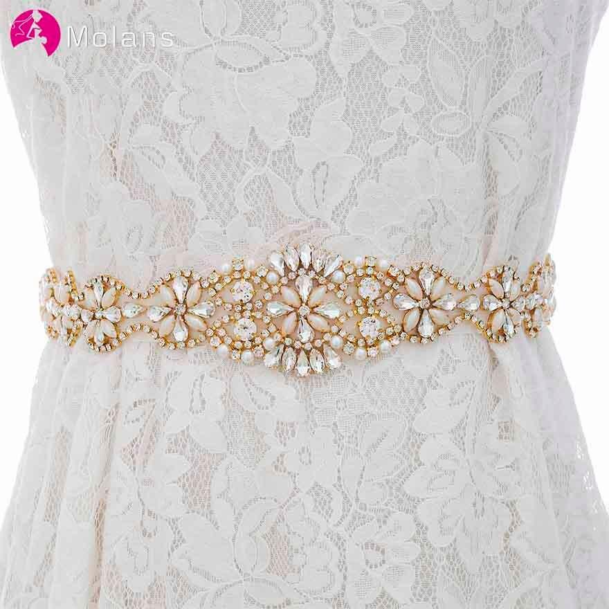 MOLANS Luxurious And Elegant Diamond Dress Waistband Accessories For Bride Rhinestone Floral Pearl Evening Dress Cummerbunds