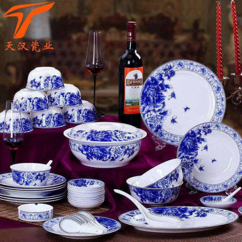 Ensemble de vaisselle chinoise en porcelaine bleu-blanc | De haute qualité, bols, plats et cuillères en céramique, cadeaux d'affaires, Jingdezhen