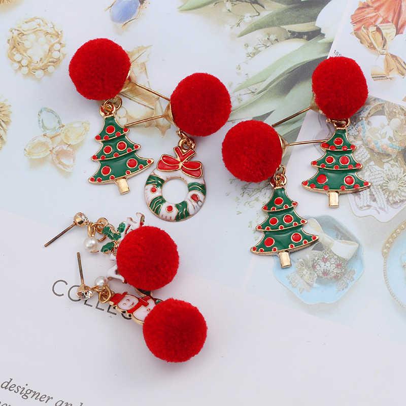de6237dcfdcc3 Fashion New Christmas Earrings Cute Hair Ball Santa Claus Christmas Tree  Tassel Pendant Asymmetric Earrings Ms. Christmas Gift
