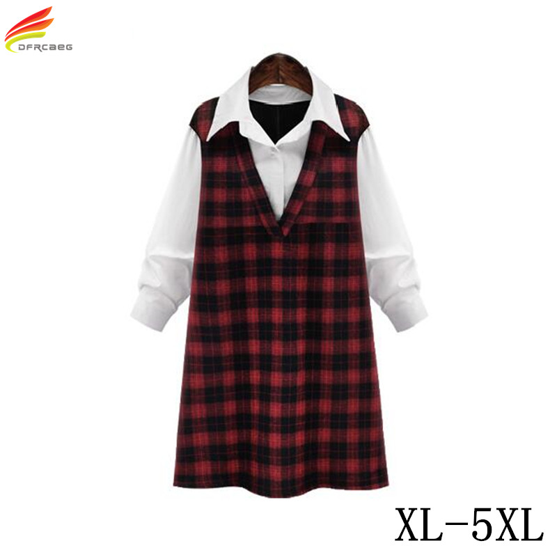 Plus Size 5XL Women Shirts And Blouses 2018 Autumn Long Red Plaid Shirt For Woman Euro