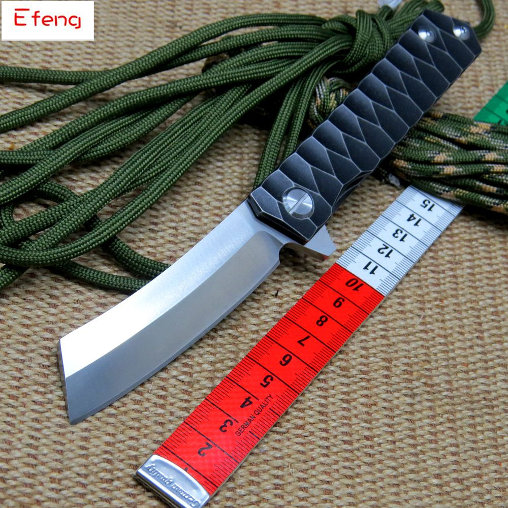 Efeng Bearing folding knife blade knife D2 steel 58-60HRC tanto point blade TC4 titanium alloy handle knife outdoor hand tool efeng tunnel rat gfmis magnum revol gb folding knife g10 griff messer 9cr18mov blade steel outdoor tool camping knife