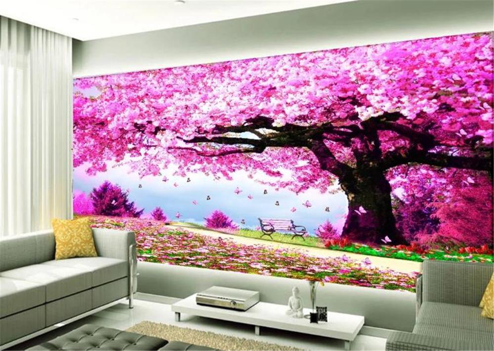 3d Wallpaper Walls Romantic Cherry Blossom Tree Beautiful Decorative Mural Wall HD Superior Interior Decorations Wall