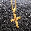 New Arrive Men S Ruby Rose Cross Pendant Necklace S Steel Women S 3D Thorns Rose
