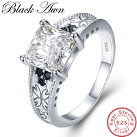 [BLACK AWN] Vintage 4.3g 925 Sterling Silver Fine Jewelry Bague Black Spinel Flower Wedding Rings for Women Girl Party Gift C476