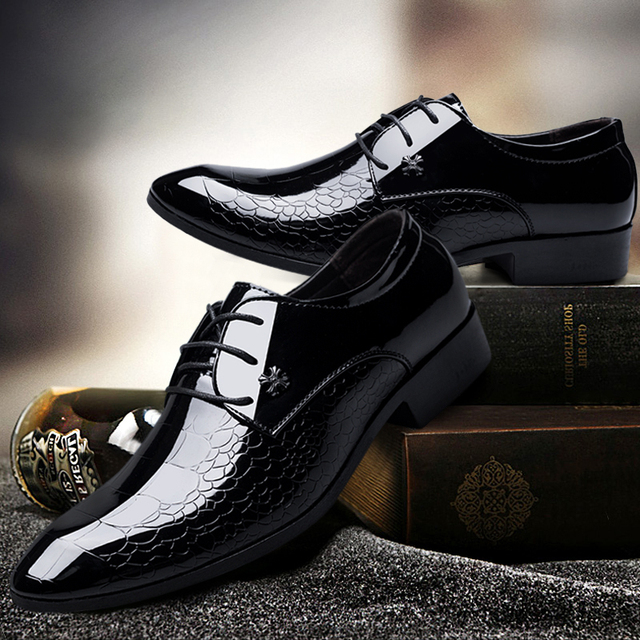 cb162eeca675 wedding shoes man Patent Leather black oxford shoes for men shoes luxury  brand formal mariage mens pointed toe dress shoes 2019
