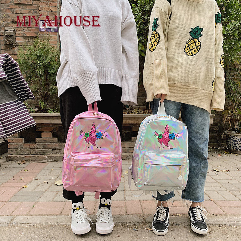 Image 4 - Miyahouse New Fashion Unicorn Design Leather Backpack For Feamle Reflective Laser Women Rucksack Large Capacity Lady School Bag-in Backpacks from Luggage & Bags