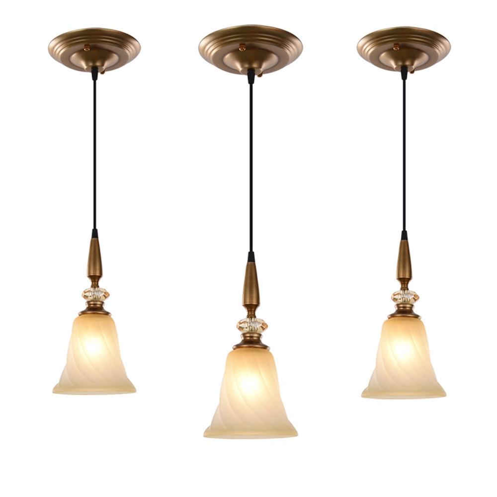 Country Rustic Crystal Dining Room Pendant Light Glass Balcony Hallway Hanging Lamp Retro Metal Corridor Restaurant Pendant Lamp led oblong crystal tube dining room pendant lights restaurant bar counter pendant light balcony hallway hanging fixtures