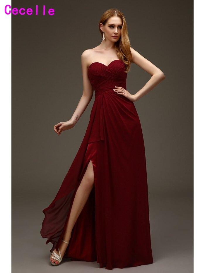 2019 Real Burgundy Red Long Chiffon   Bridesmaids     Dresses   Sweetheart Pleats Bodice Split Chiffon Sexy Women Wedding party Gowns