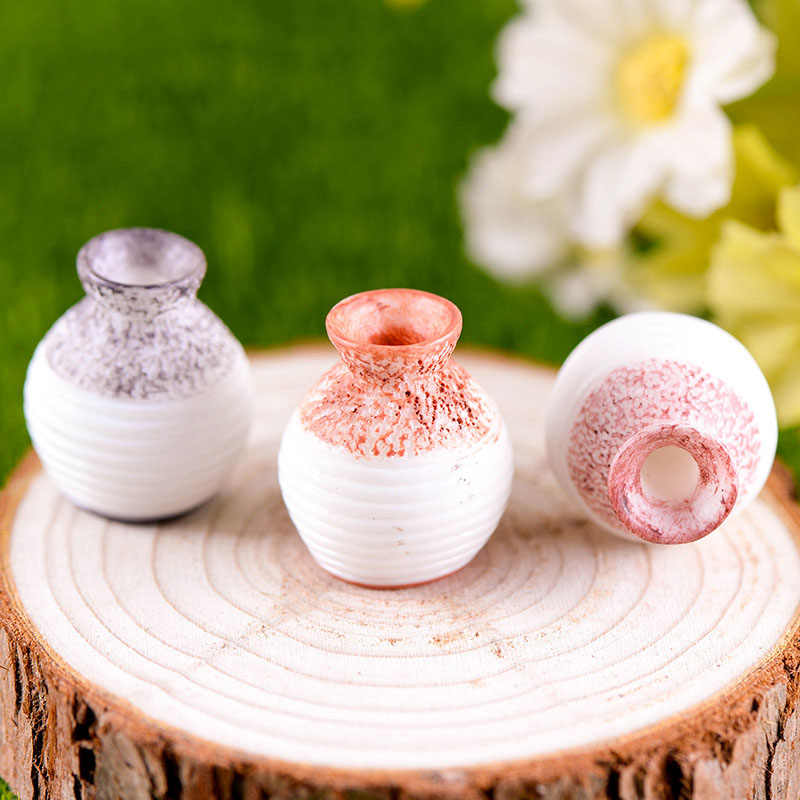 3 Pcs Mini Vase Figurines Miniatures Fairy Garden Gnome Moss Valentine's Day Gift Resin Crafts Home Decoration