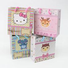 Emerra Hot Selling Cartoon Cute Animals hand-held Jewelry paper bag kids toys Clothing Packaging Wholesale Free Shipping