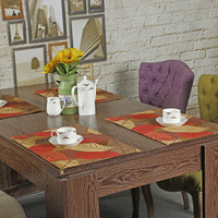 Jacquard Placemats Dining Asian Leaf Table Mats Chinese Ethnic Fabric Doily Bohemian Coasters Vintage Elegant Desk
