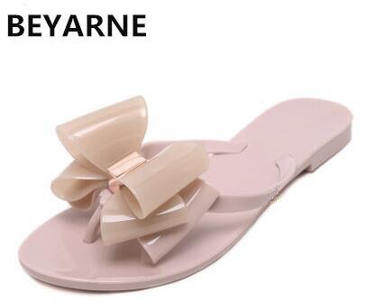 3acb3a0514e Online Shop BEYARNE Fashion woman jelly beach sandals lady flip flops flats  rain shoes women summer Slippers black white pink 36-41 green 39
