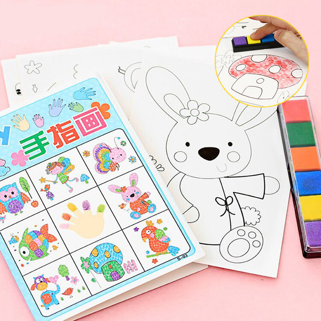 8pcs/lot Kids Toy Anime Drawing Set Cards Stickers Diy Coloring ...