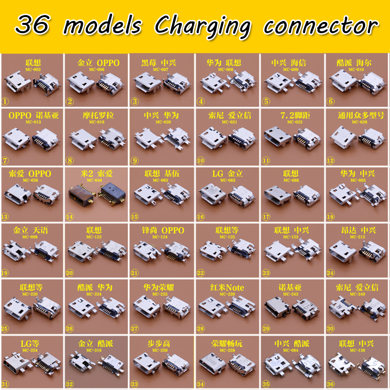 36 models micro usb jack connector common used charging port for Nokia Xiaomi lenovo zte huawei oppo other mobiles,tablets 100pcs 10pcs each for 10 kind micro usb 5pin jack tail socket micro usb connector port sockect for samsung lenovo huawei zte htc