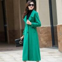 2018 New Fashion England Style Wool Coat Female Green Long Cashmere Coat Autumn Winter Coat Women