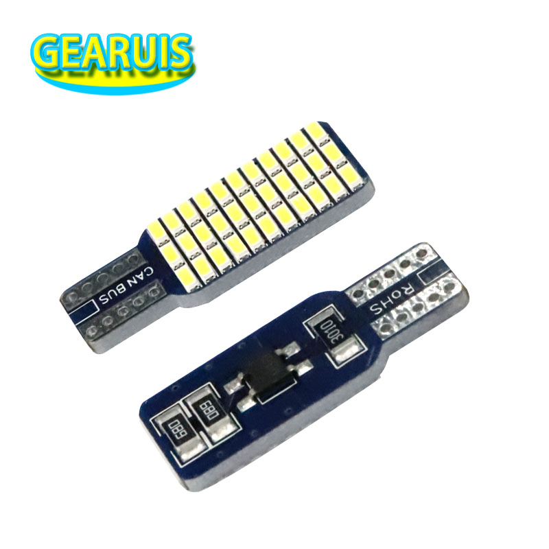 <font><b>100pcs</b></font> Car Auto <font><b>T10</b></font> led <font><b>Canbus</b></font> 192 194 168 W5W LED Bulbs 33 SMD 3014 1.2W Car Tail Lights Dome Lamp White DC 12V image