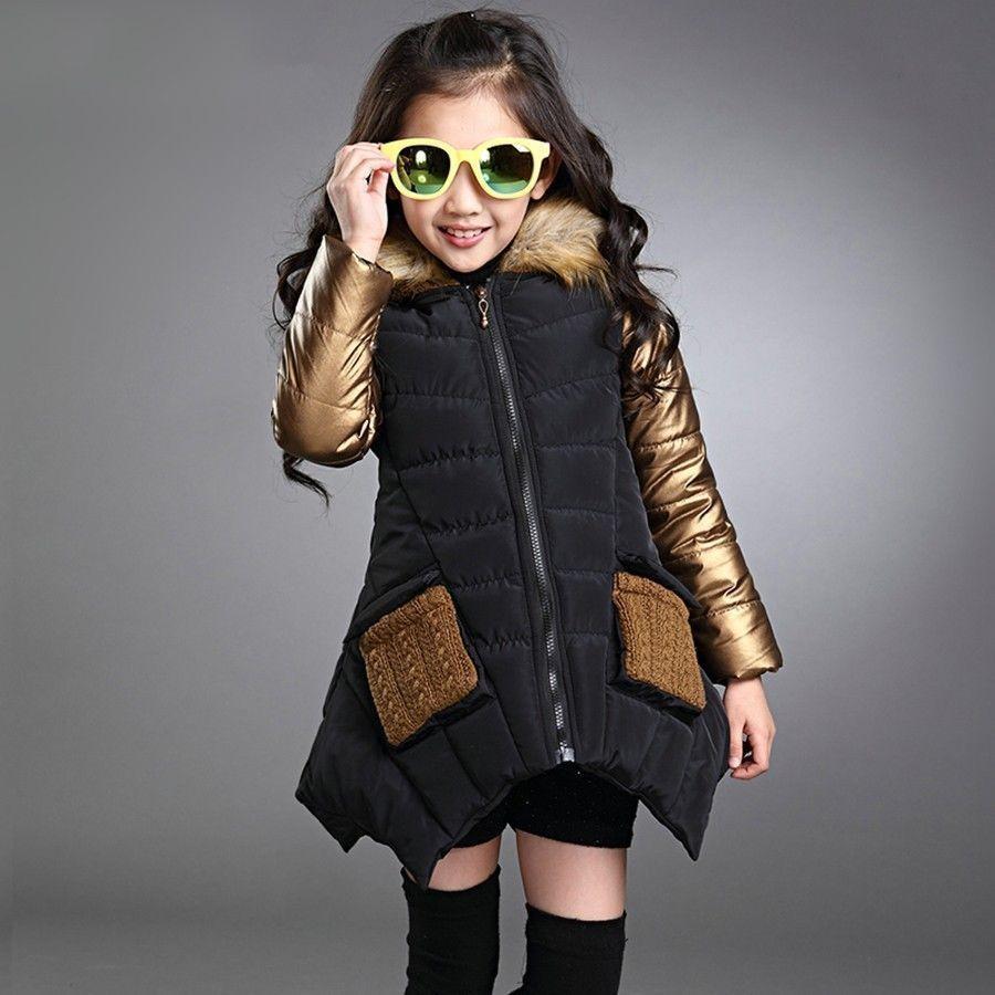 2016 Parkas Girl Clothing Kids Winter Outerwear Coats Princess Girls Jacket