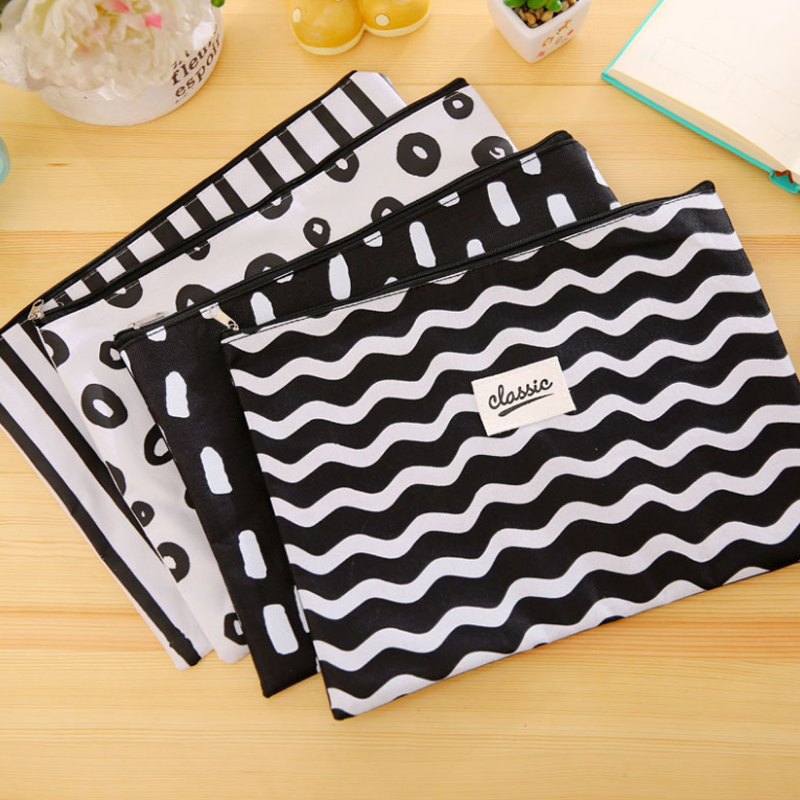 1 Pcs New A4 Cute Black&White Wavy Stripes Oxford File Folder Document Filing Bag Stationery Bag Promotional Gift Stationery