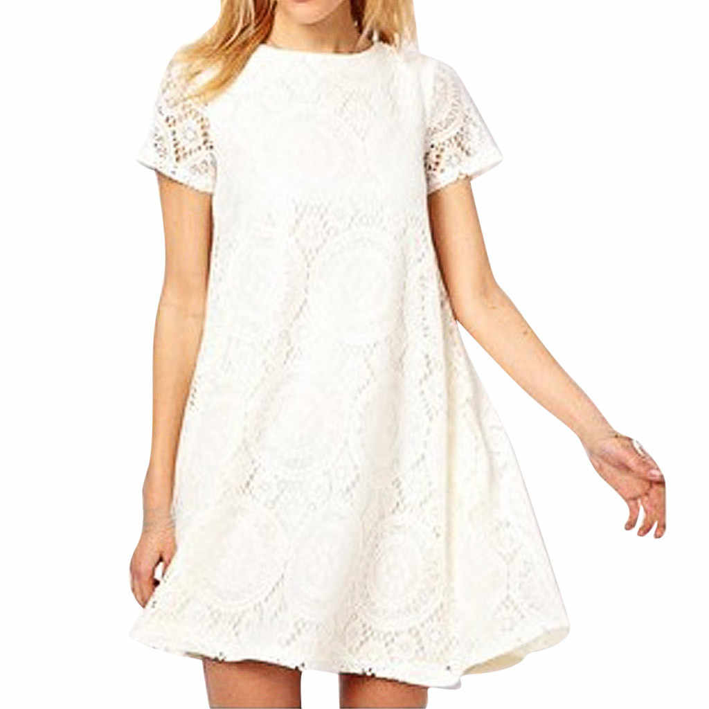 مثير حجم كبير ملابس الصيف للنساء الصلبة فستان قصير الأكمام امرأة س الرقبة فستان الدانتيل الجوف خارج فستان # G6