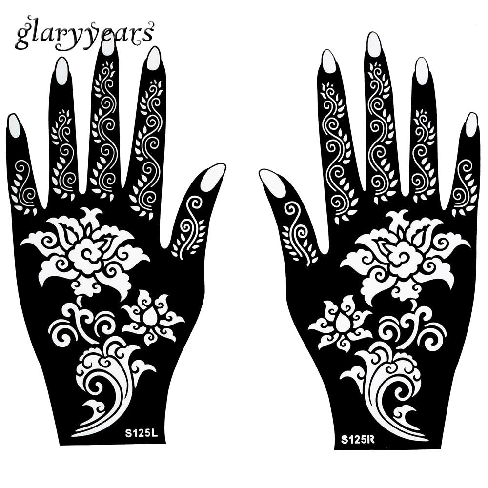 Temporary Tattoo Stencils Henna: Hot 1 Pair Henna Tattoo Stencil Beautiful Flower Pattern