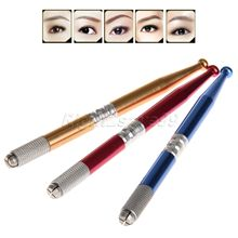 Manual Pen Tattoo Machine Permanent Makeup Eyebrow Microblading Embroidery Lock-pin Metal Alloy Red Blue Golden Lightweight