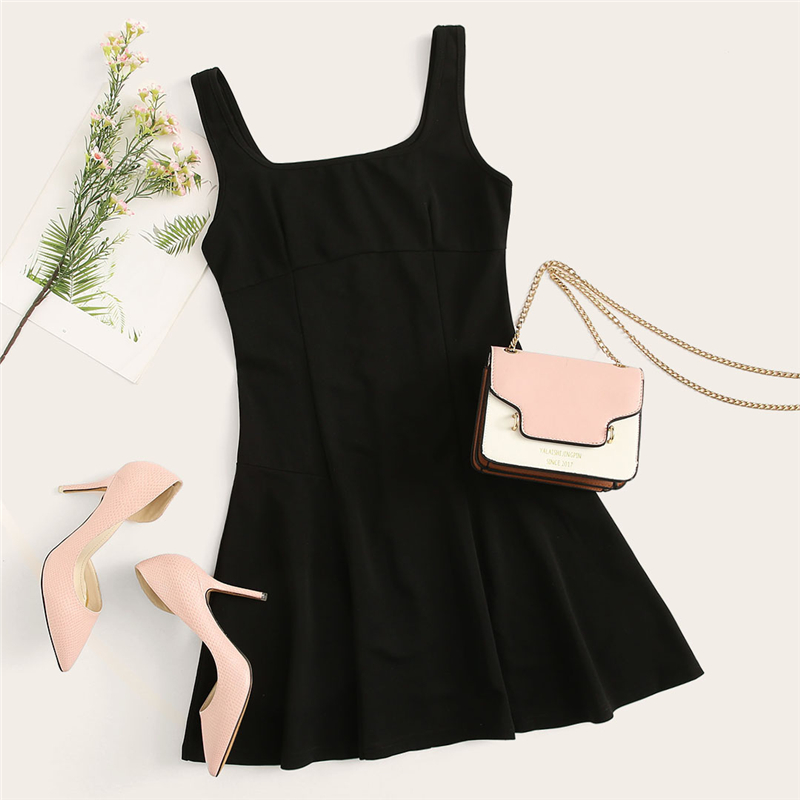 SHEIN Black Fit And Flare Solid Dress Elegant Straps Sleeveless Plain A Line Dresses Women Summer Autumn Zipper Short Dress 13