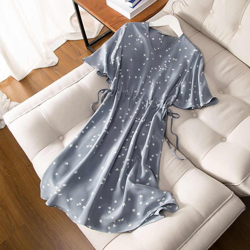3c8d43c86496e Pure Silk Print Dress 100% Mulberry Silk Women Butterfly Sleeve One-piece  Dresses M L