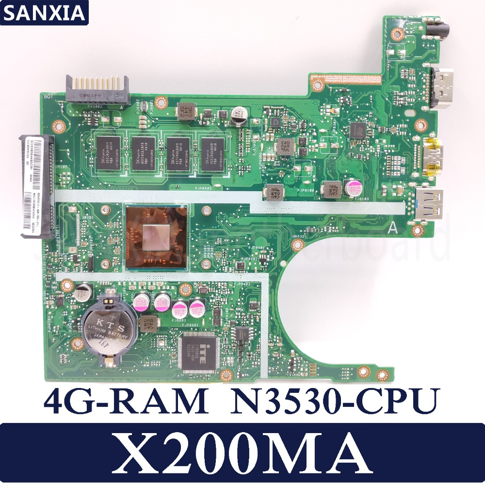 KEFU X200MA Laptop motherboard for ASUS X200MA F200MA Test original motherboard 4G RAM N3530 CPU