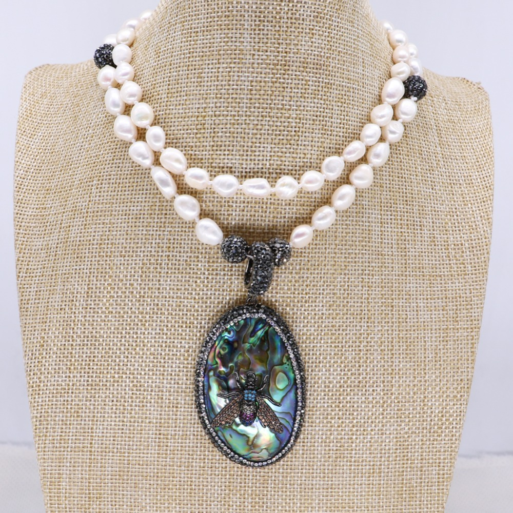 Wholesale Natural pearls necklace abalone pendant with zircon bugs jewelry pendant necklace jewelry gift for lady 4132