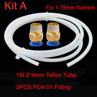 1M PTFE Tube Teflon ID 2mm 4mm OD 4mm 6mm + 2 Remote Connectors J-head hotend Rostock Bowden Extruder for 1.75mm 3mm filament