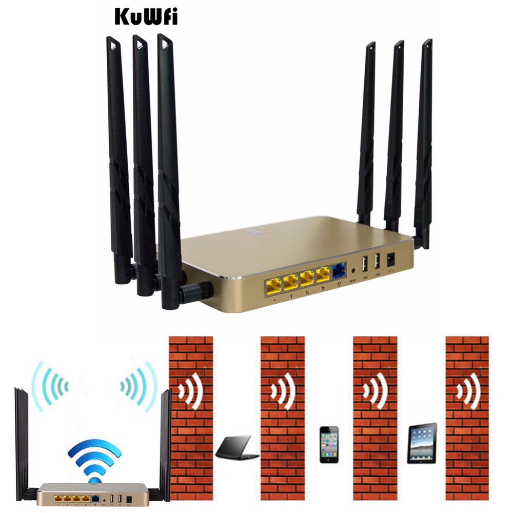 1200Mbps 11AC Dual Bnad Gigabit Wireless Router Multi Function Through Wall WiFi Repeater AP Router High Gain Support 128 Users tp link wireless router 802 11ac ac1750 dual band wireless wifi router 2 4g 5 0g vpn wifi repeater tl wdr7400 app routers