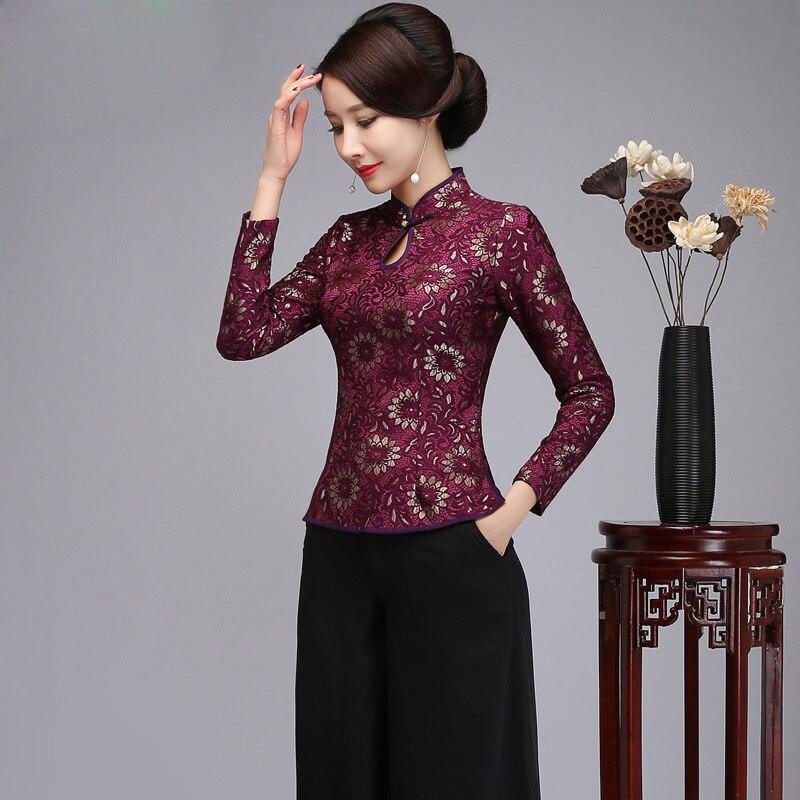 Fleur Épaisse Tops Femmes Mince S Chinois La Plus Main Style 4xl Purple Mandarin 2019 Printemps Bouton Col Taille red Dentelle Chemise Chemisier Nouvelle q784XU