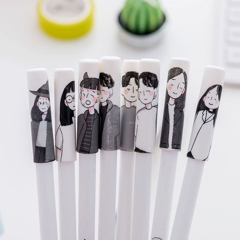 1Pcs New Creative Cute Student Master Genius Slim Young 0.5mm Pen Gel Pen Office School Gift Stationery Pen E0485 genius hs 300a silver