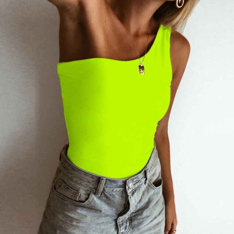 Sexy Rompers women ladies Solid bright color One shoulder Slimming bodysuits jumpsuits Sleeveless Club streetwear Summer set New
