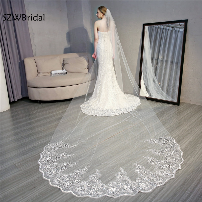 New Arrival Wedding Veil 2019 White Ivory In Stock 4 Meter Sexy Wedding Accessories Veu De Noiva Bridal Veil Voile Mariage Velo
