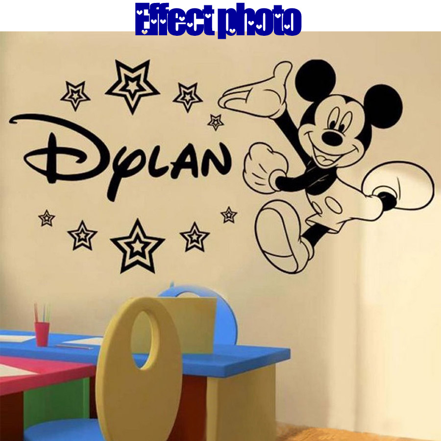 Personalised Mickey Mouse Wall Decorative Films Classic Baby Decals Decor  Vinyl DIY Pegatina Wallpapers Stickers For Kids Rooms In Decorative Films  From ...