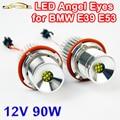 2 Peças (1 Conjunto) 2*45 W 90 W LED Marcador Angel Eyes CREE LEVOU Chips de 7000 K XENON Branco para E39 E53 E60 E61 E63 E64 E65 E87