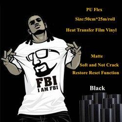 Rollo de vinilo adhesivo negro de transferencia de calor de PU para la ropa de 50cm * 25 m/rollo