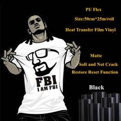 Sticky back black PU heat transfer vinyl heat transfer vinyl roll for garment 50cm*25m/roll