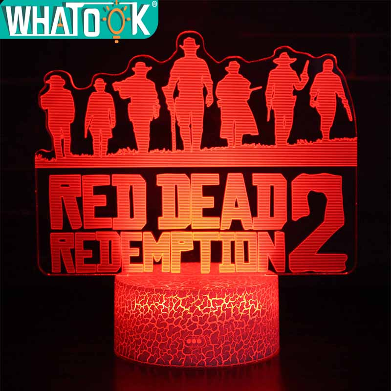 3D Illusion Table Lamp RGB Crackle Base Led Light Hot Game Red Dead Redemption Night Light for Birthday Holiday Christmas Gift