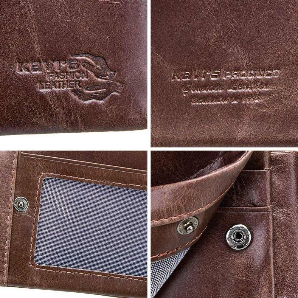 KAVIS Бесплатная гравировка Trifold из натуральной кожи мужской кошелек портмоне мужской Cuzdan на молнии Walet визитница портфель Valllet