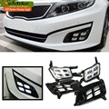 eeMrke Car LED DRL For Kia Optima K5 2014 2015 Xenon White DRL Fog Cover Daytime Running Lights Kits