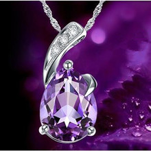 TJP Top Quality Silver 925 Girls Choker Necklace Jewelry Vintage Zircon Purple Stone Pendant For Ladies Accessories Hot