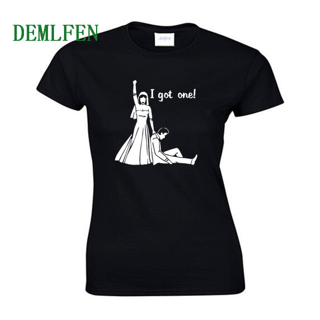 cacbc9f720a US $8.39 40% OFF|I Got One Wedding Bride Groom Engagement Game T shirt  Women Short Sleeve Cotton O neck T Shirt Novelty Summer Tees Funny Tops-in  ...