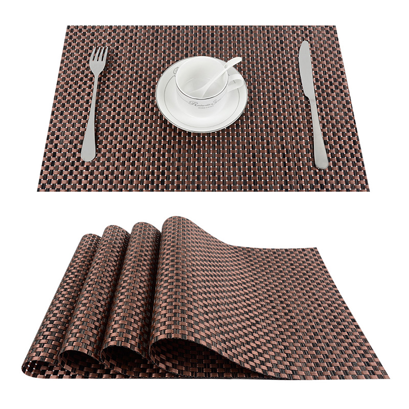 Topp Finel 2016 Sett med 4 PVC Kryssvev Placemats for Dining Table Runner Linen Plasser Mat i Kitchen Tilbehør Cup Coaster Pad