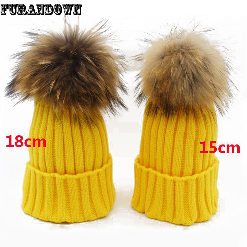 Fashion Womens Winter Knitted Beanie Hats 18cm Raccoon Fur Pompoms Ladies Caps Ear Protect Causal Fur Hats For Women