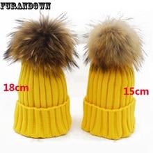 mink fur ball cap 18cm big pompom winter hat for women girl 's hat knitted beanies cap brand new thick female cap