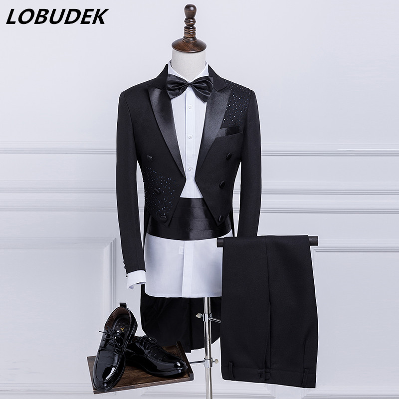 Men's Tuxedo Suits Black Crystals Tailing blazers costume Prom singer dancer stage perferformance suit Host Swallowtail Magician